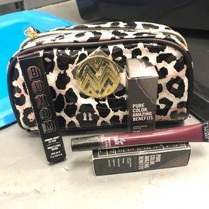New makeup bag and lipstick eyeshadow lip gloss